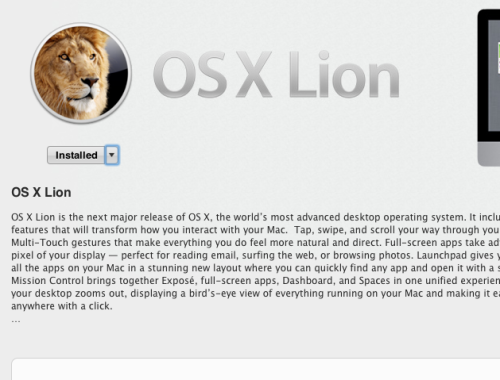 OS X Lion Install Option