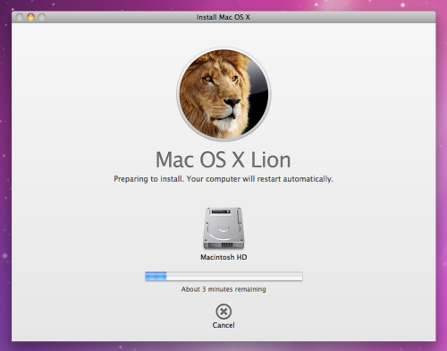 OS X Lion Install Progress
