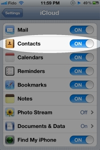 Settings iCloud Contacts Sample